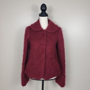 ELEVENSES Red Mohair Wool Fuzzy Pea Coat Jacket